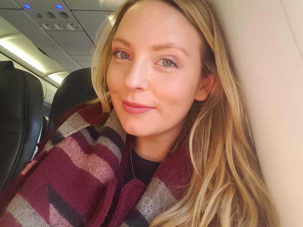 Yvette Morrissey selfie on a plane