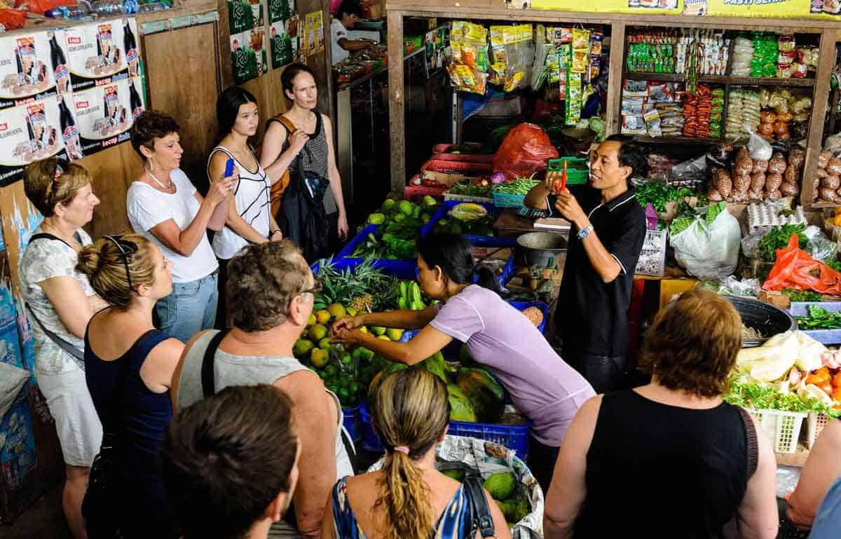 A Casa Luna cooking class visiting the markets in Ubud, Bali