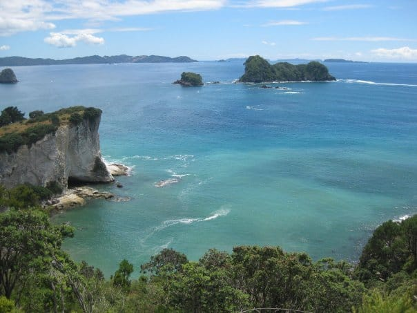 The stunning view from the hike to Cathedral Cove overlooks mini islands and the deep blue green ocean