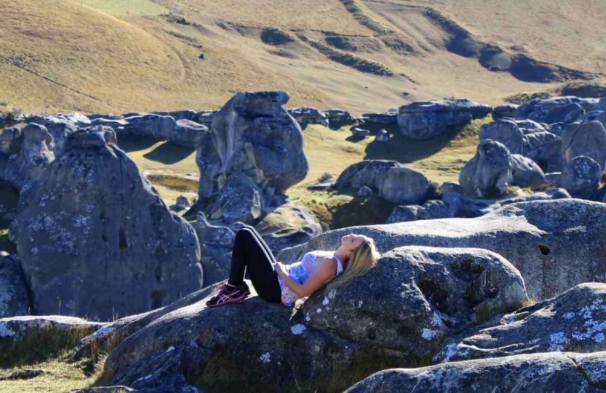 Yvette Morrissey hanging out at Castle Hill in New Zealand
