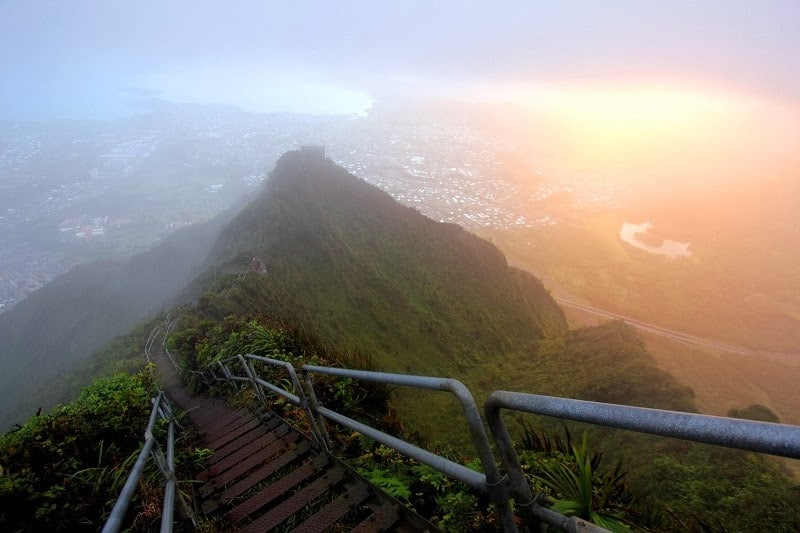 The view from the top of the magical Stairway to Heaven or Haiku Stairs