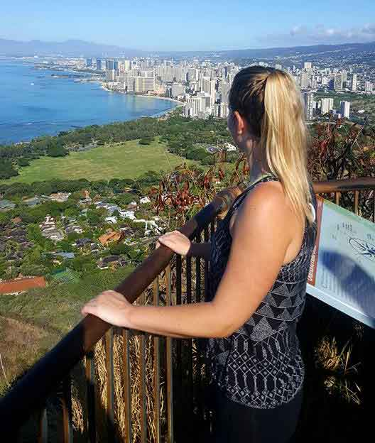 Yvette looks out at the view over Waikiki Beach from the top of the Diamond Head crater rim