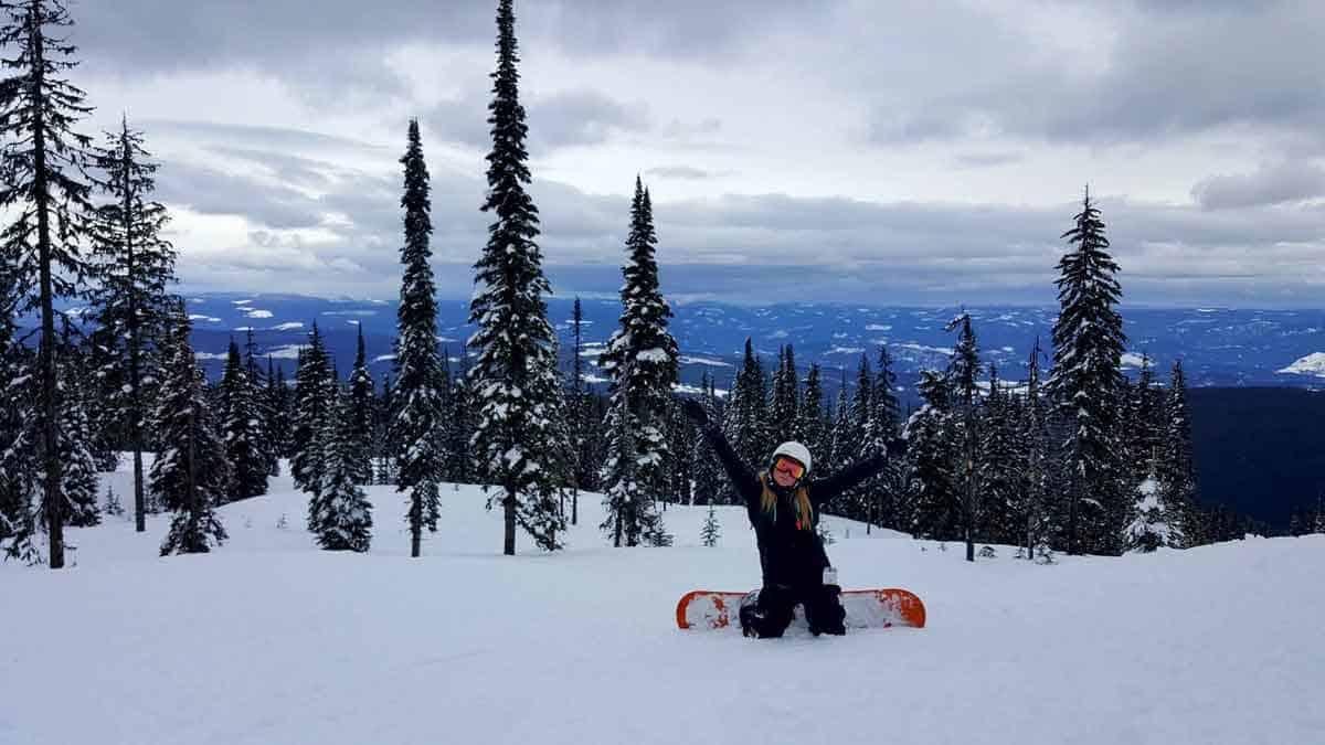 Yvette Morrissey snowboarding at Silver Star Ski Resort