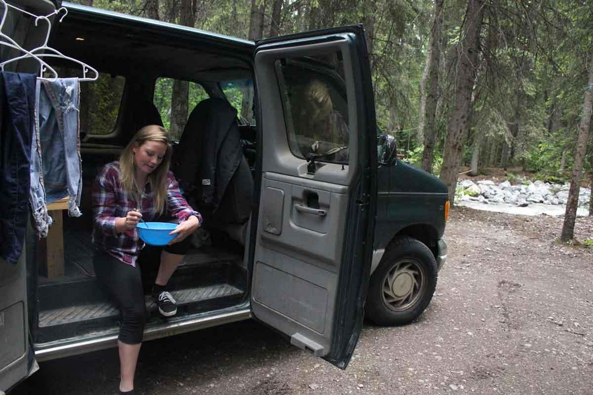 Having breakfast in the van at Takakkaw Falls Campground
