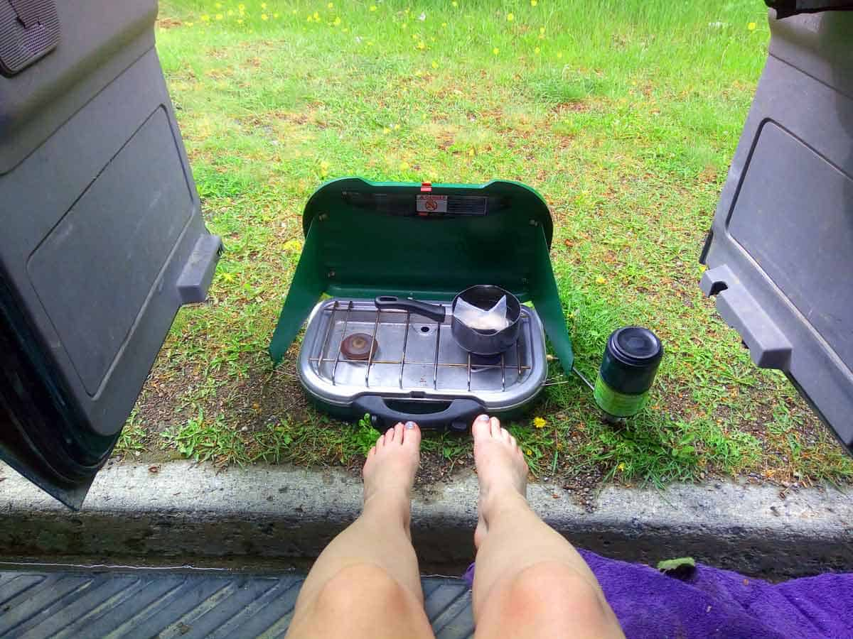 Cooking dinner while living the vanlife is easier with a Coleman Propane Stove