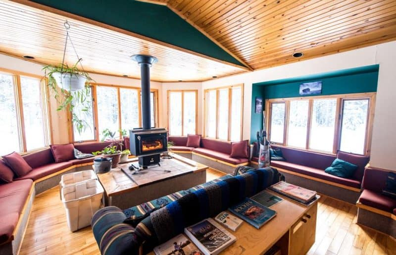 The lounge area of the Castle Mountain Wilderness Hostel in Banff National Park, Alberta