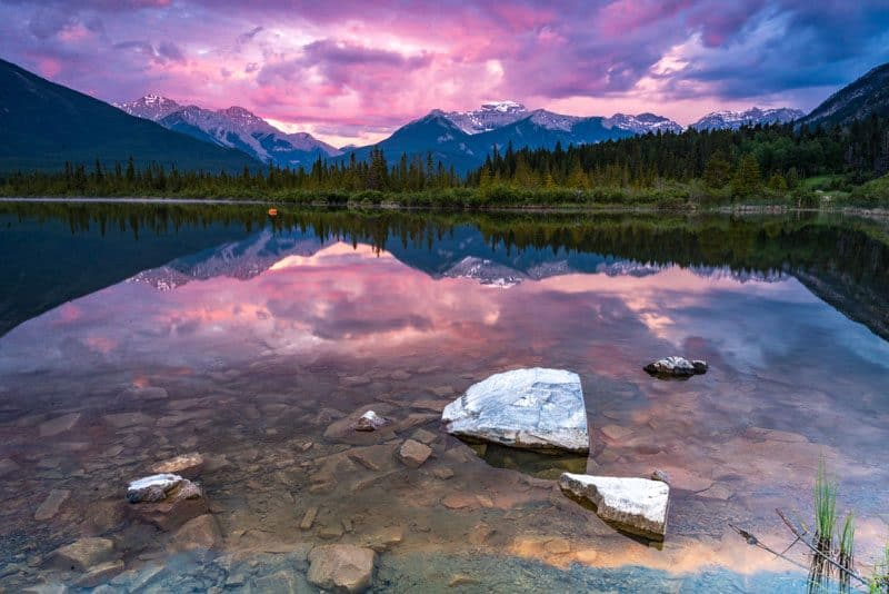Banff National Park pink sunset