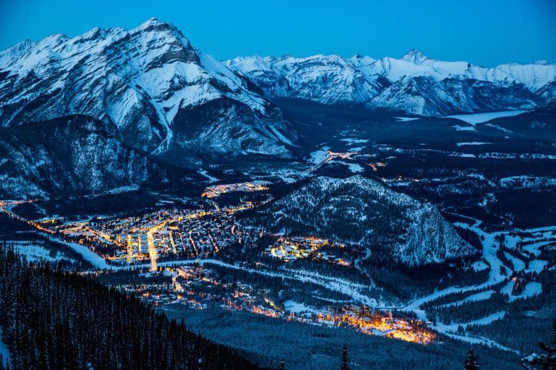 Town of Banff in the evening with a backdrop of Cascade Mountain