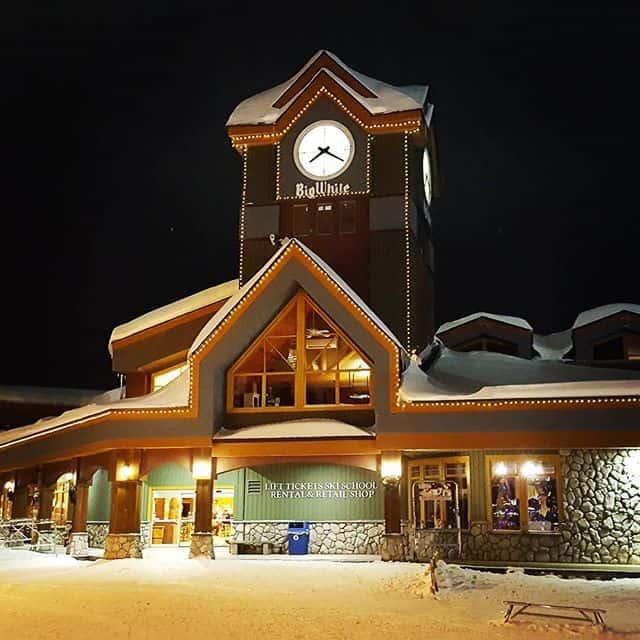 The village centre mall clocktower at Big White Ski Resort, Kelowna, British Columbia