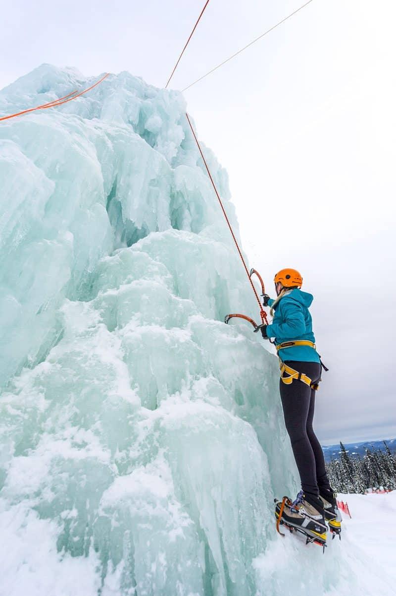 Climbing an ice tower at Big White Ski Resort in Kelowna, British Columbia, Canada