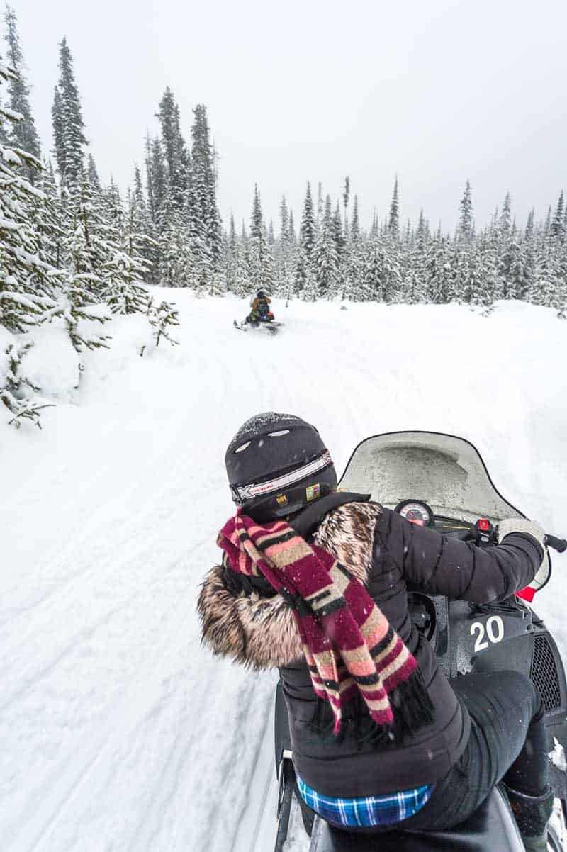 Snowmobiling at Big White Ski Resort with Outback Snowmobile Tours in Kelowna, Canada
