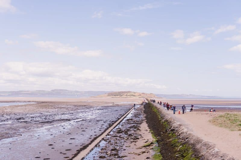 The .3 mile causeway leading to Cramond Island
