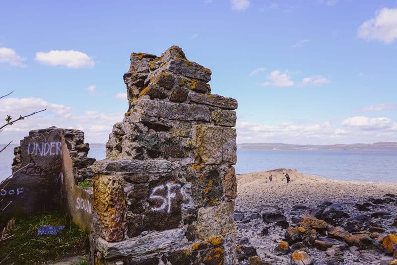 The ruins of a World War II stronghold on Cramond Island in Edinburgh