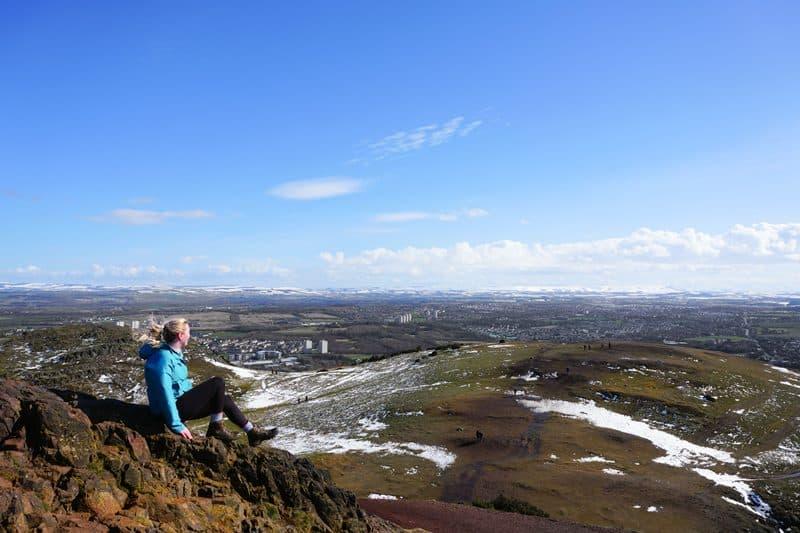 Wayfaring Kiwi at the top of Arthur's Seat in Edinburgh