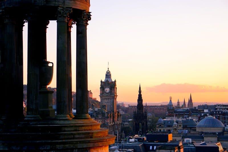Sunset from Carlton Hill in Edinburgh, Scotland