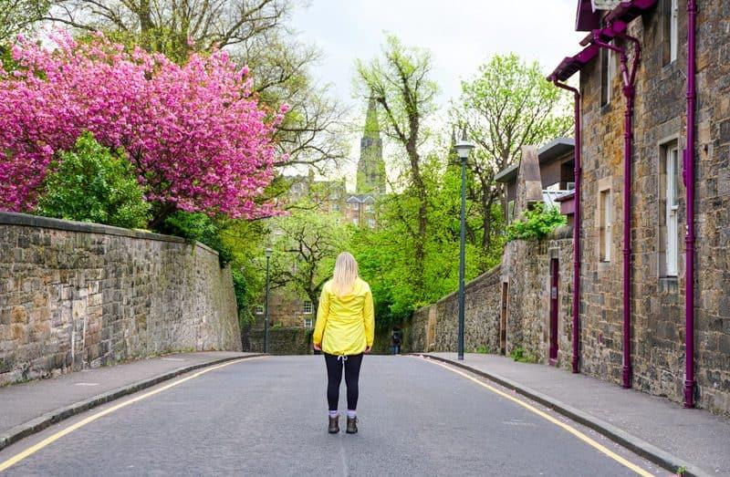 Walking to Dean Village in Edinburgh