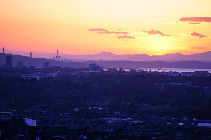 Sunset over Edinburgh as viewed from Carlton Hill