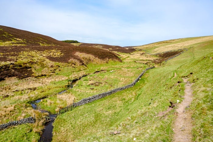 The trail following the North Esk River in the Pentland Hills