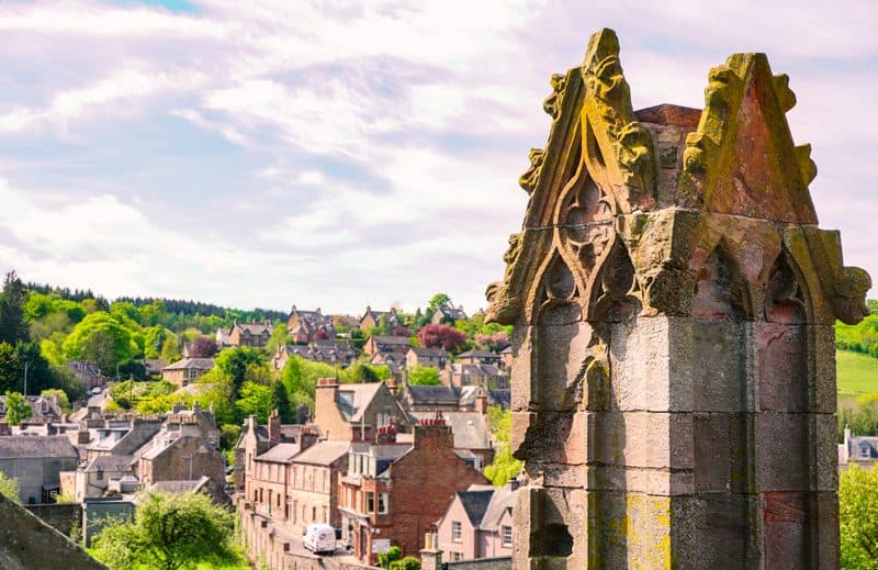 The view of Melrose from Melrose Abbey