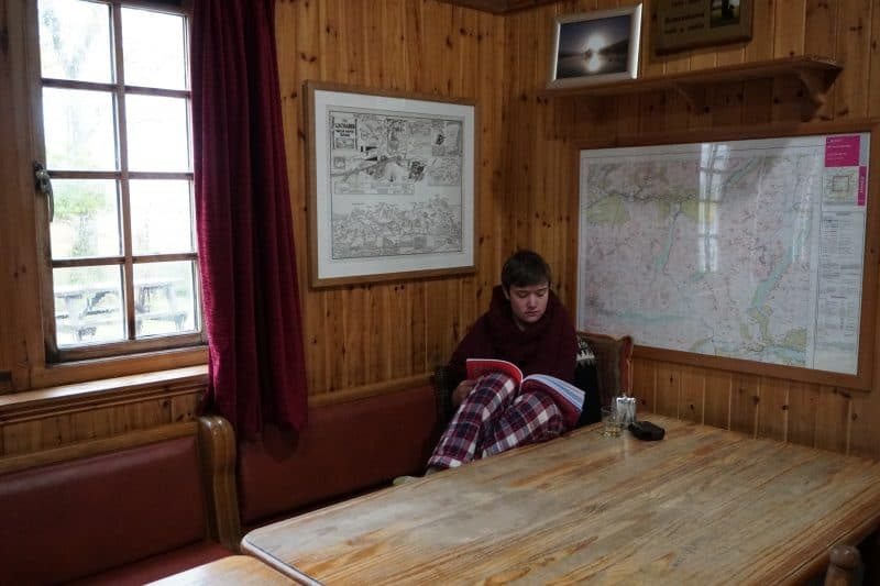 Relaxing at Loch Ossian Hostel