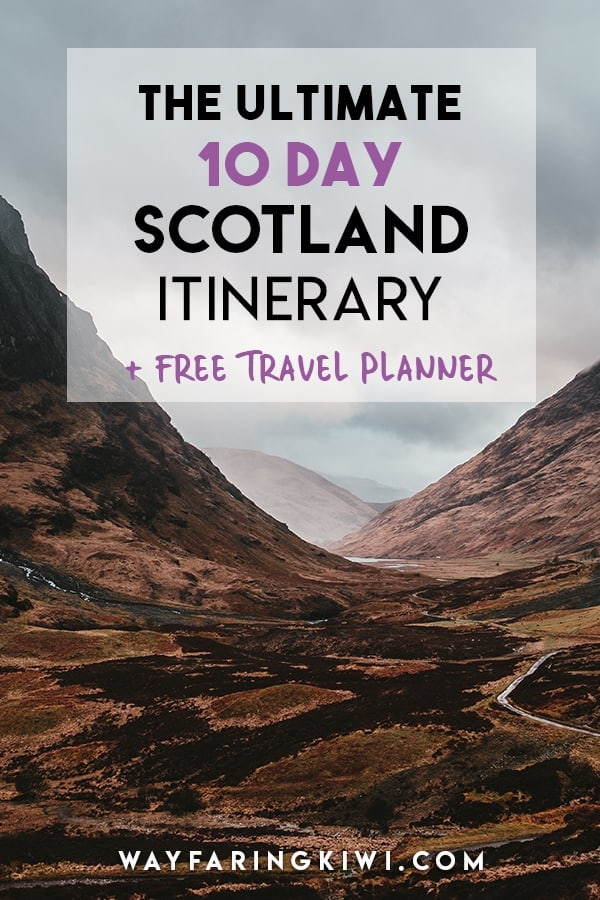 In this 10 day Scotland itinerary you will discover the very best of Scotland. Plan your 10 day Scotland roadtrip with my printable Scotland Travel Planner and Checklist, free to download! Don't forget to save this to your travel board so you can find it later!